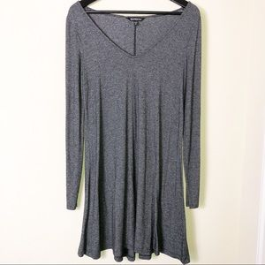 Express Gray Long Sleeve V-Neck A Line Dress S